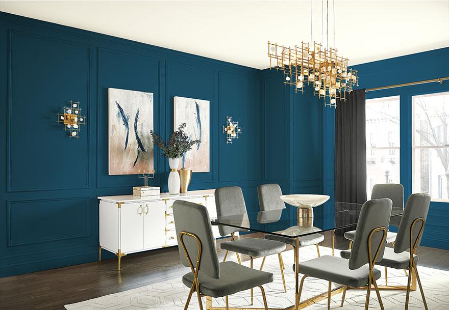 Dining Room, dark blue walls