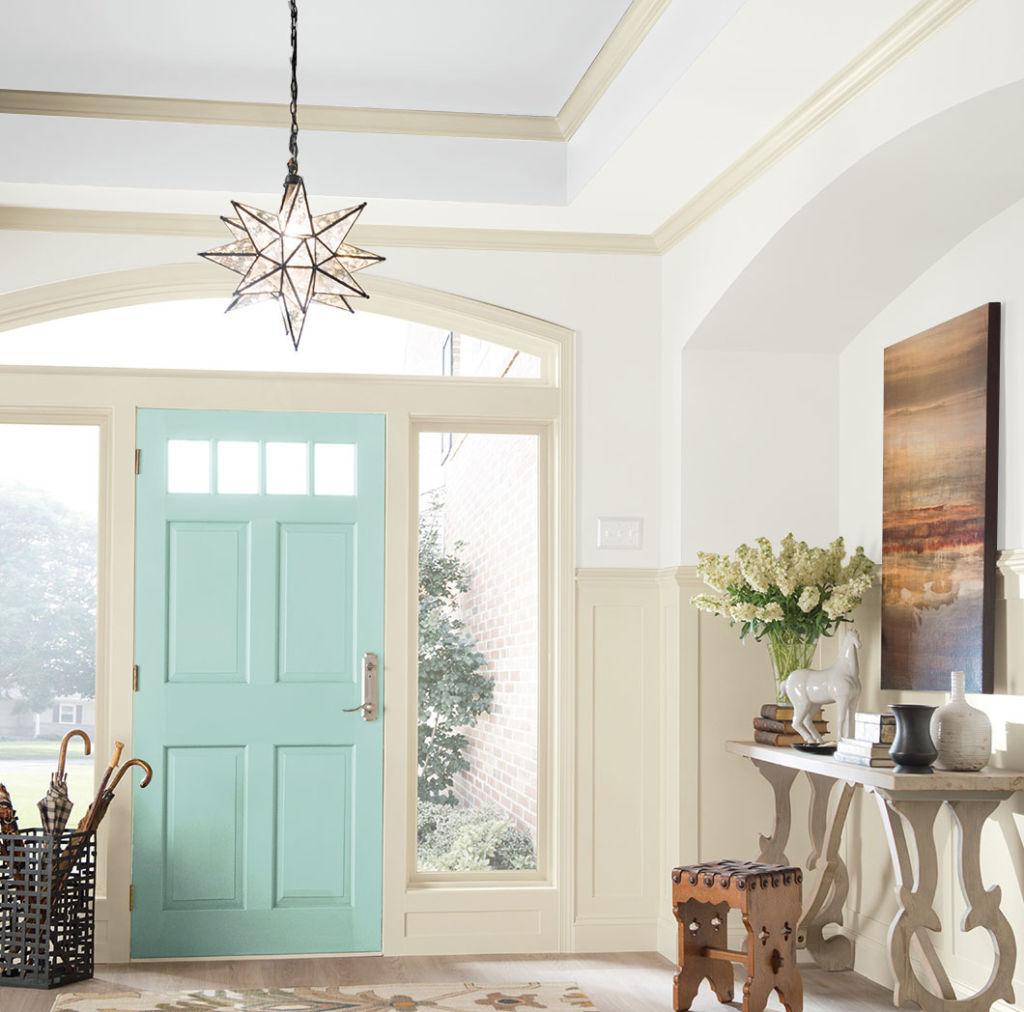 hallway, light blue door, glass on the sides