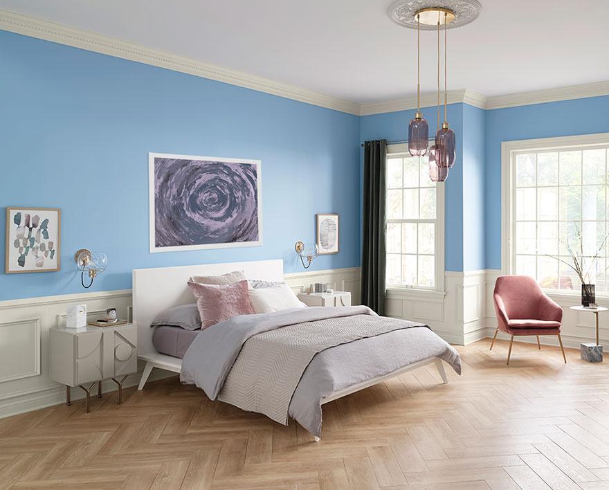 Bedroom, Bright blue walls