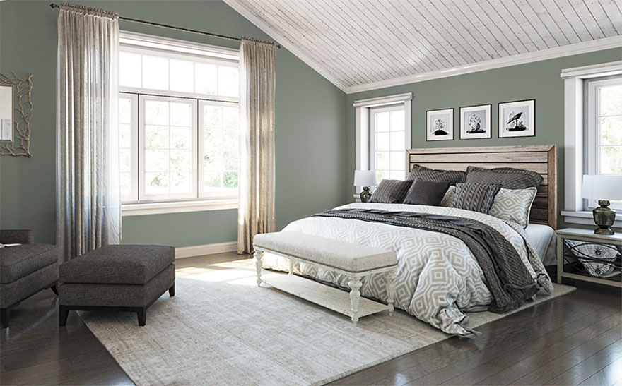 large bedroom with sloping ceiling