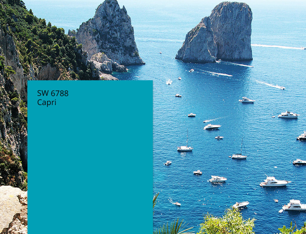Capri, sea and cliffs seen from above