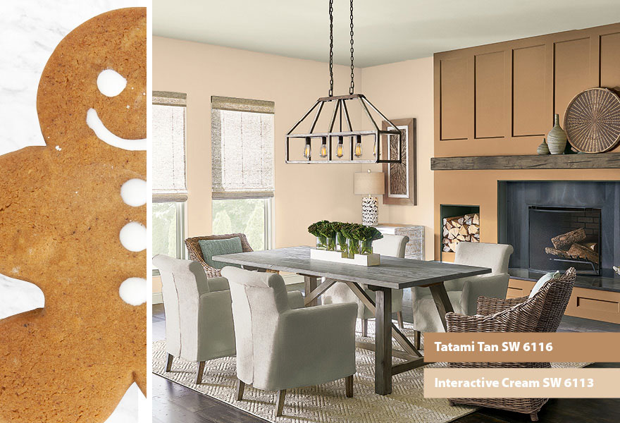 Dining room, beige color palette, table and comfy chairs, fireplace