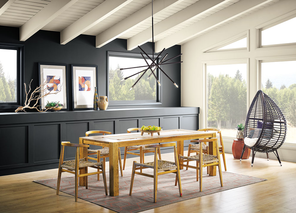 Dining room, black cabinets and wall, large windows