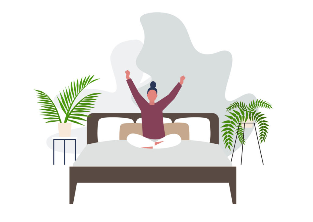 Drawing of a woman sitting and stretching on the bed