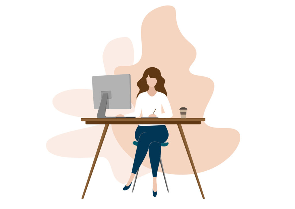 Drawing of a woman sitting by the desk with iMac and writing something with pen