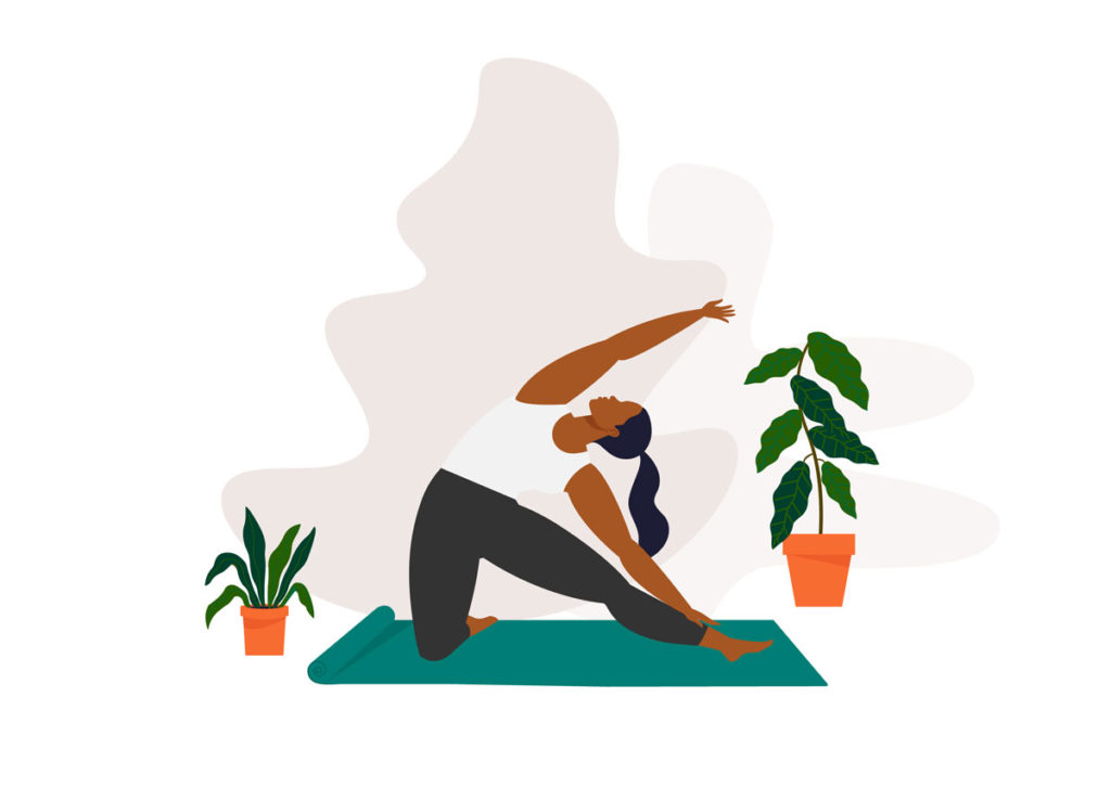 Drawing of a woman doing yoga