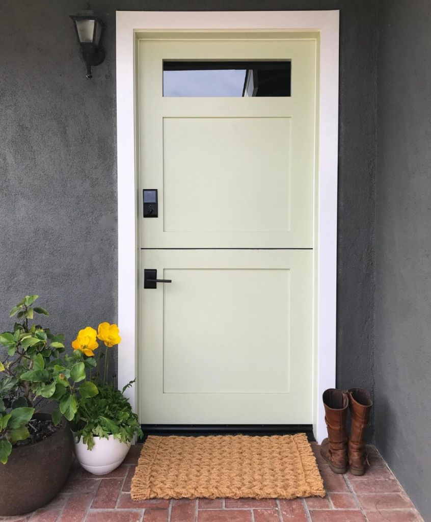 dutch door, light green