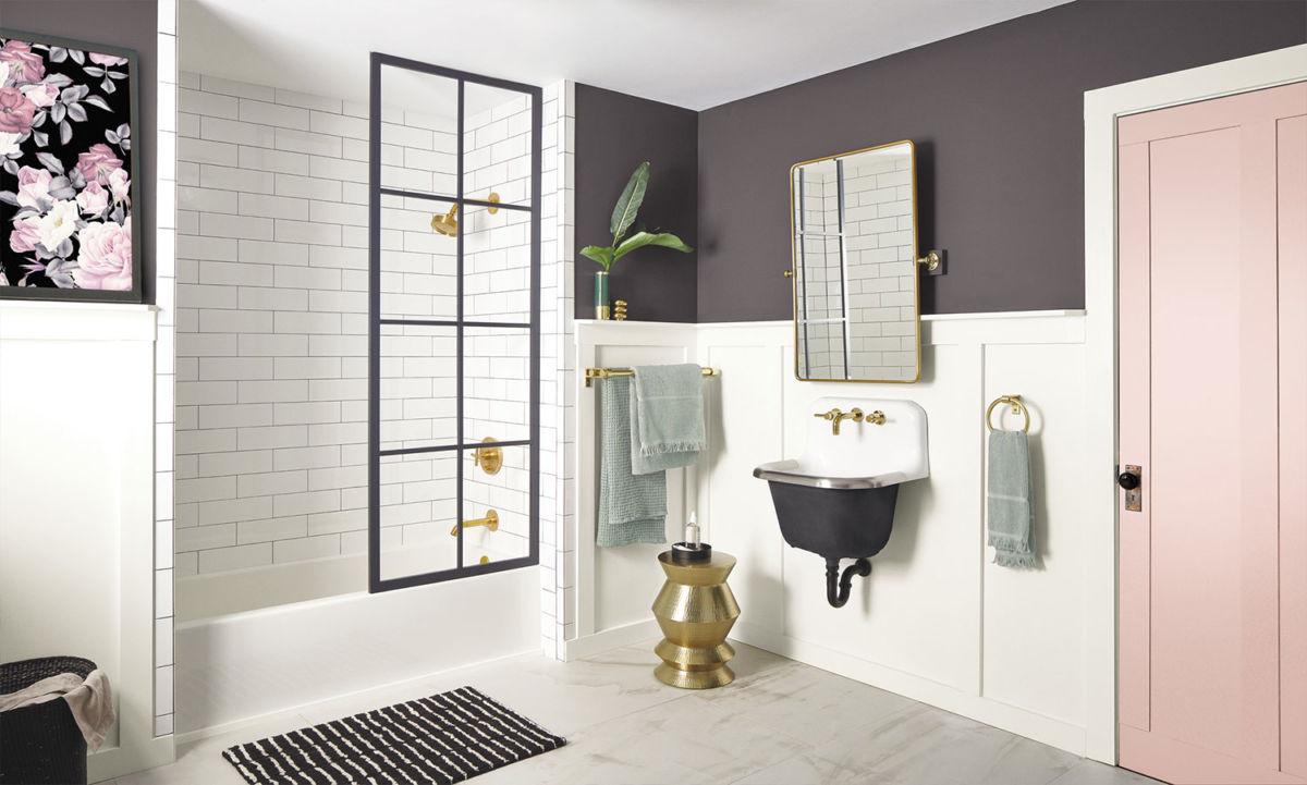 Bathroom painted in Perle Noir SW 9154