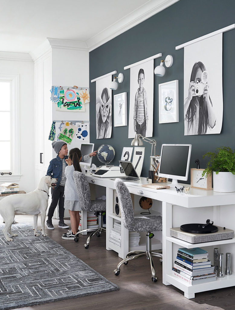 Kids homework room with blue accent wall in raincloud.