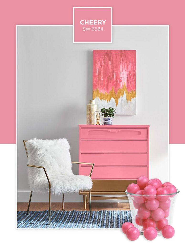 Candy-inspired paint colors: A dresser painted in Cheery.