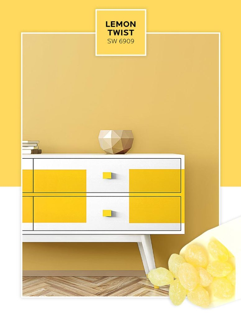 Candy-inspired paint colors: A color blocking dresser painted with Lemon Twist.