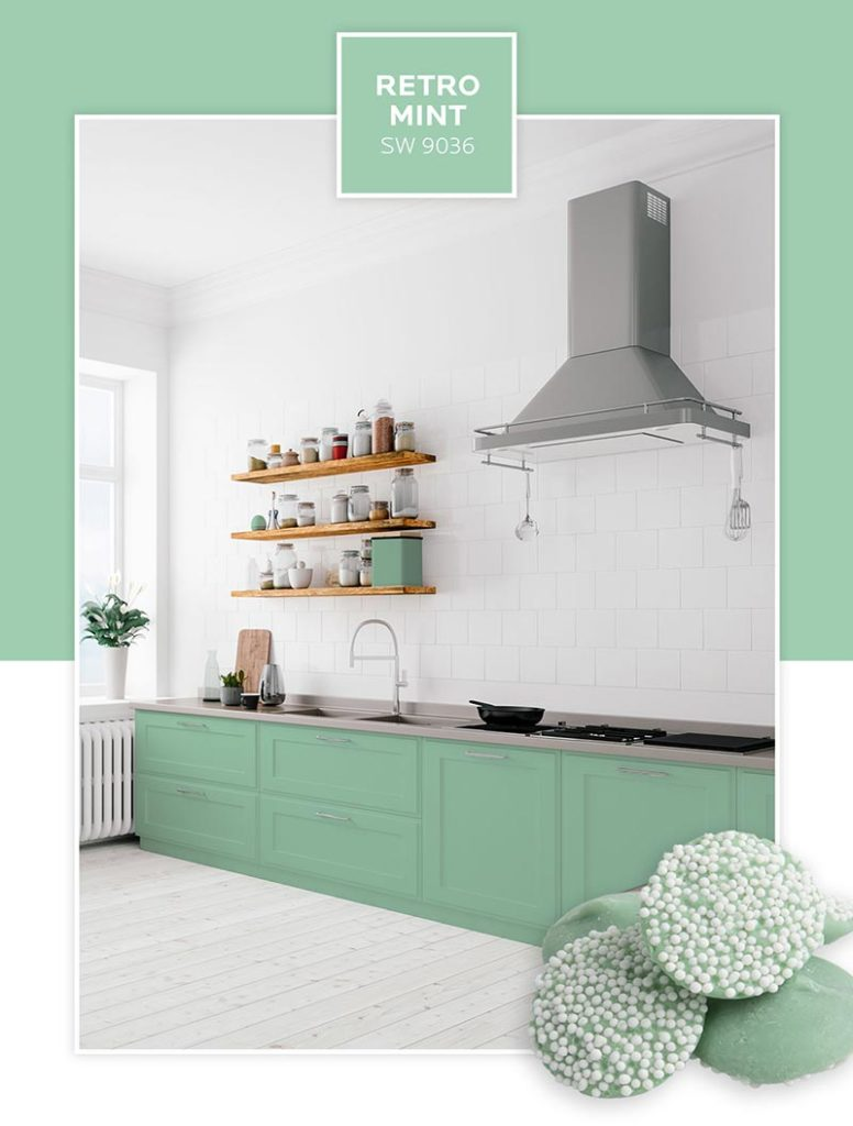 An open kitchen with lower cabinets painted in Retro Mint.