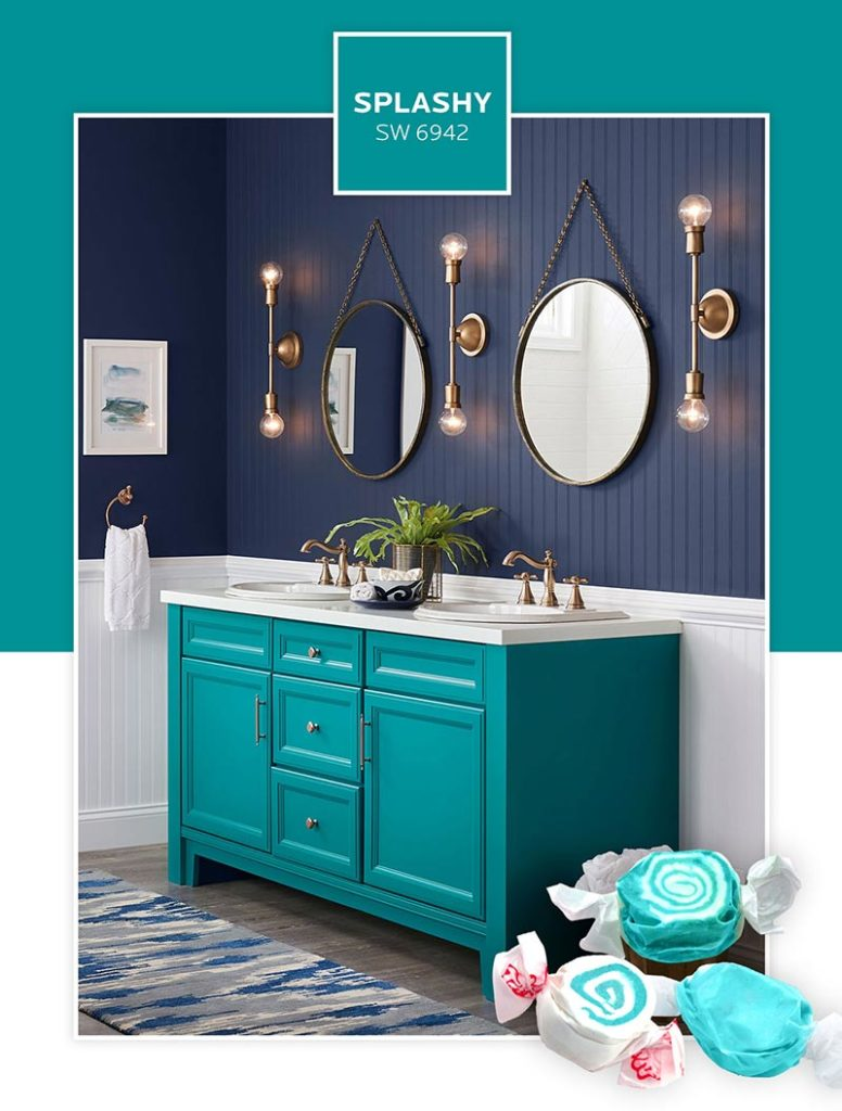 A bathroom vanity with cabinets painted in Splashy.