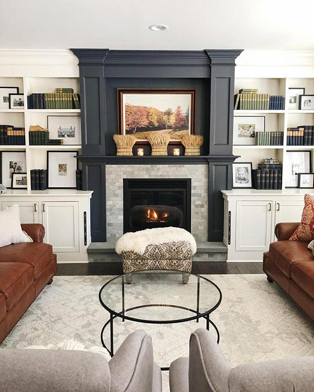 Blue mantel painted in Cyberspace from Sherwin-Williams.