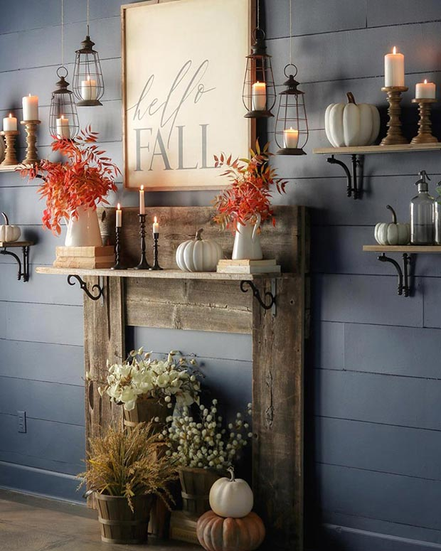 Wood mantel with shiplap wall painted in Naval from Sherwin-Williams.