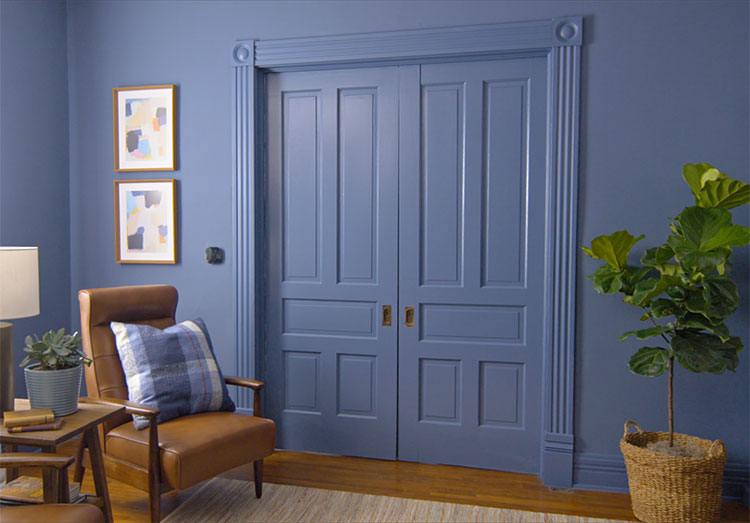 A room where the doors, walls and trim are painted in the same color