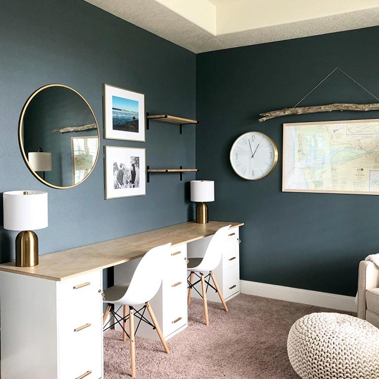 calming room makeovers: home office with natural materials, metallic accents and walls painted in Grays Harbor