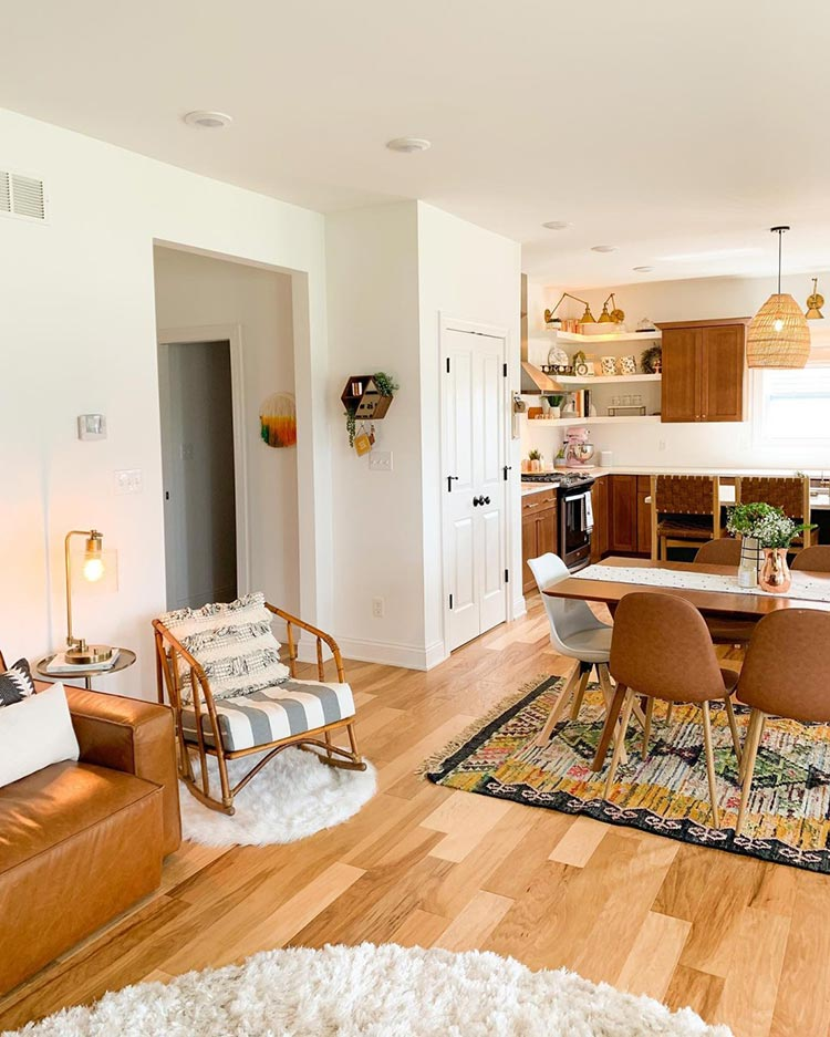 calming room makeovers: open floor plan with Pure White walls and nautral materials