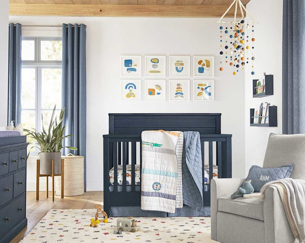 kids' room makeover: An airy nursery with blue furniture from Pottery Barn Kids