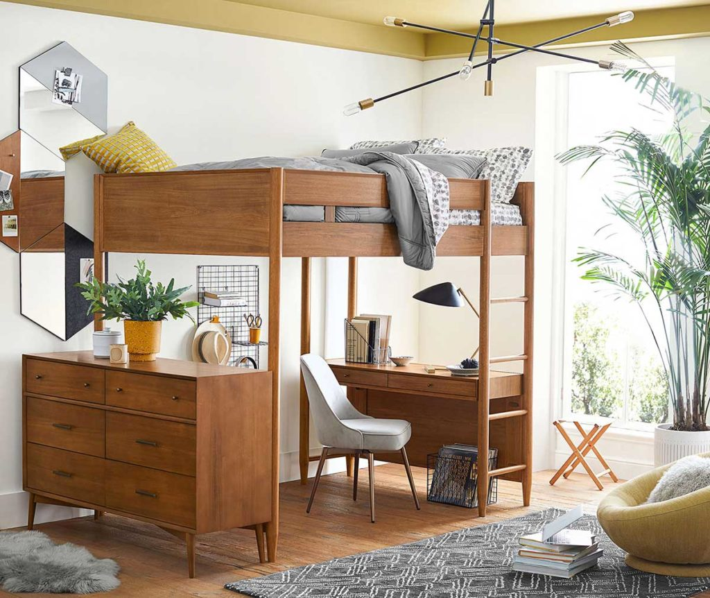 kids' room makeover: A teen bedroom with lofted bunk furniture from Pottery Barn Teen