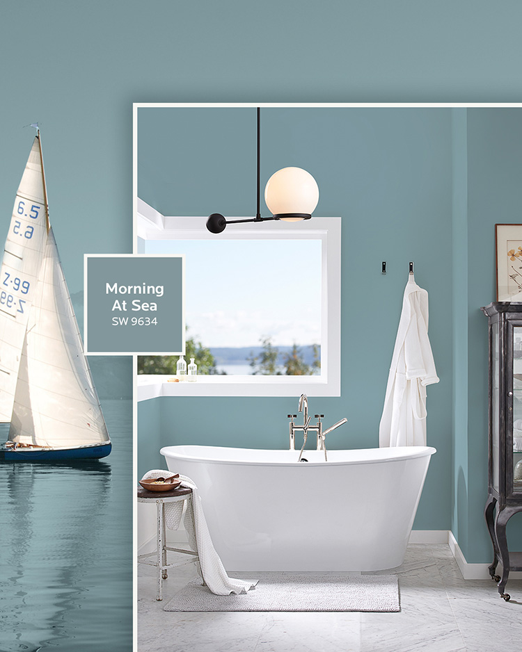three water-inspired colors: a bathroom with a large window and walls painted in Morning at Sea