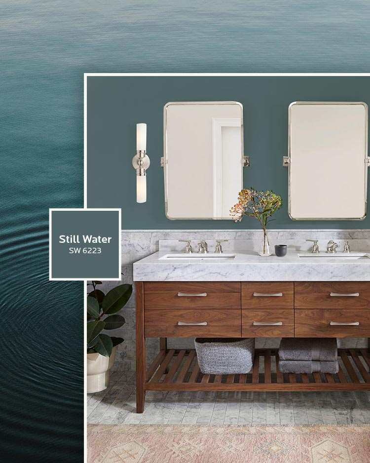 A bathroom vanity with walls painted in Still Water