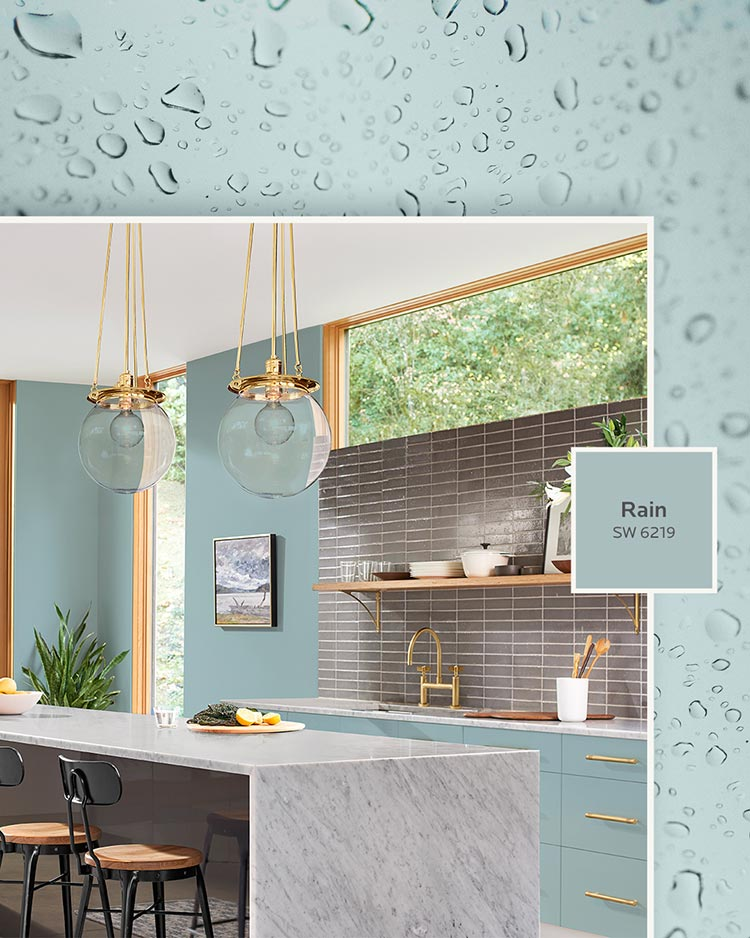 three water-inspired paint colors: A modern kitchen painted in Rain