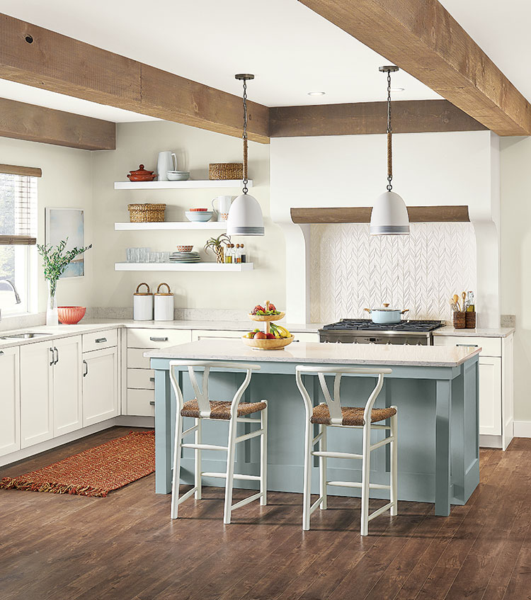 image of a kitchen with a ceiling featuring wood beams