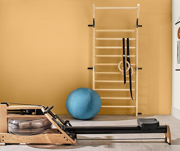 Home gym with rowing machine and ladder with wall painted in Tarnished Trumpet SW 9026.