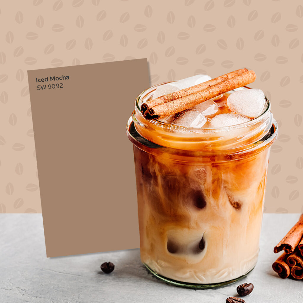 Light brown iced Mexican coffee in a mason jar next to a Sherwin-Williams Iced Mocha SW 9092 color card