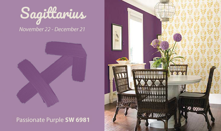 sagittarius inspired purple and yellow living room