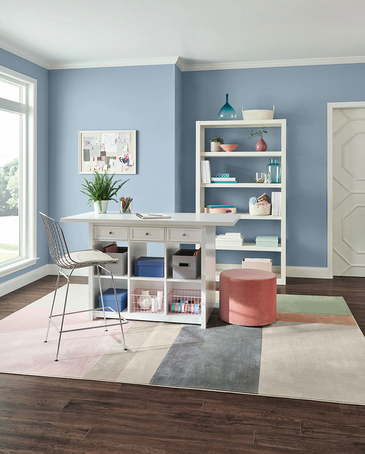home craft room with organizational furniture.