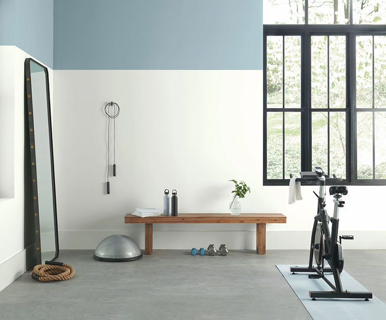 home gym with blue and white color blocking walls