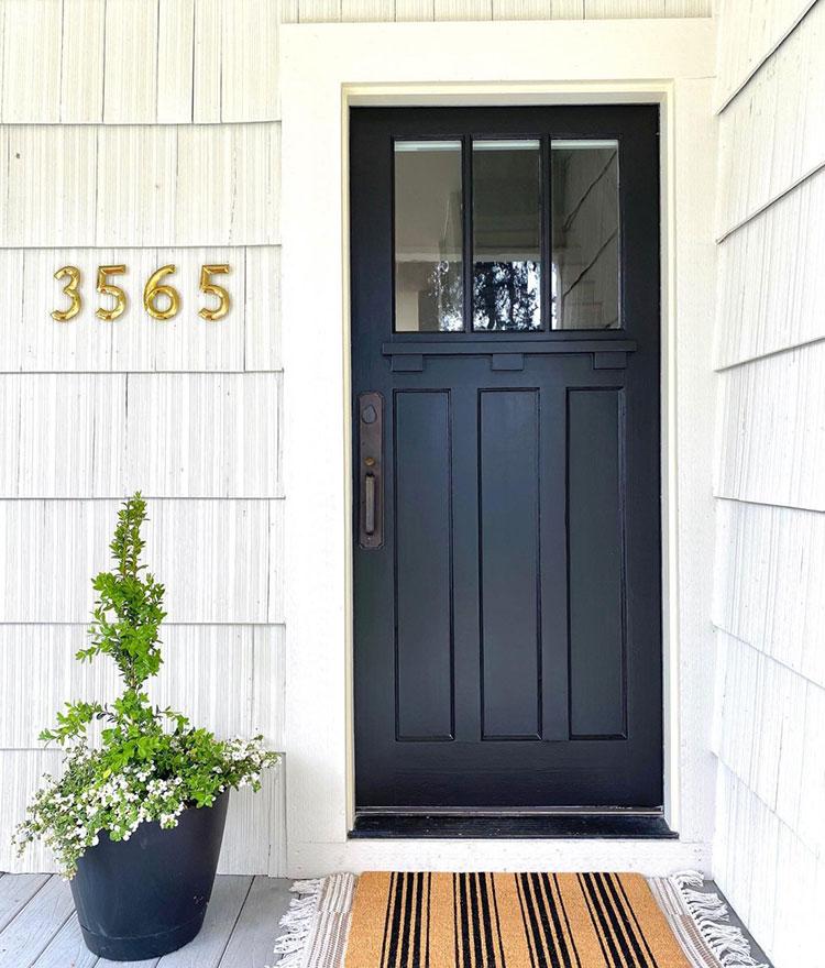 Front door painted Tricorn Black SW 6258.