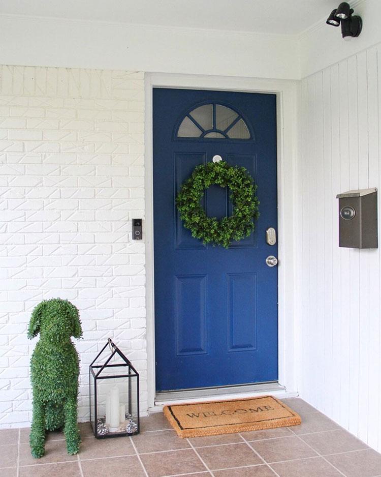 Front door painted Salty Dog SW 9177.