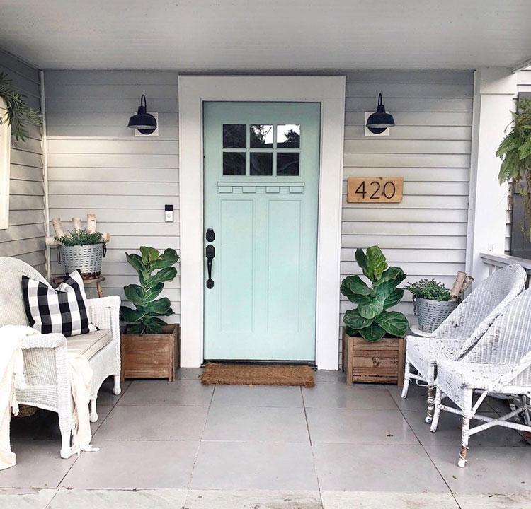 Front door painted Waterscape SW 6470.