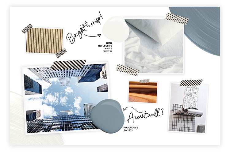 Material and color options for mood board, including colors High reflective white SW 7557 and Poolhouse SW 7603.