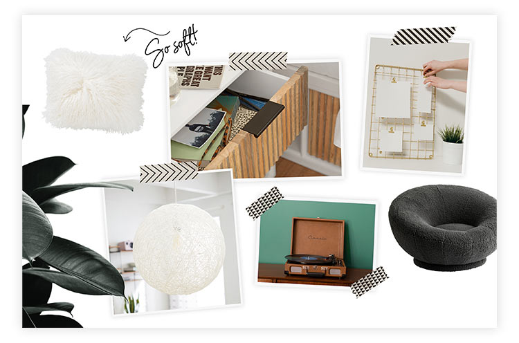 Furniture and decor images for mood board.