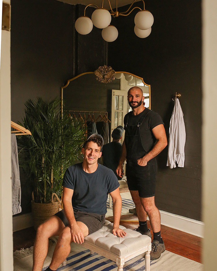 Matt and Beau of Probably This in a dressing room painted in Urbane Bronze SW 7048.