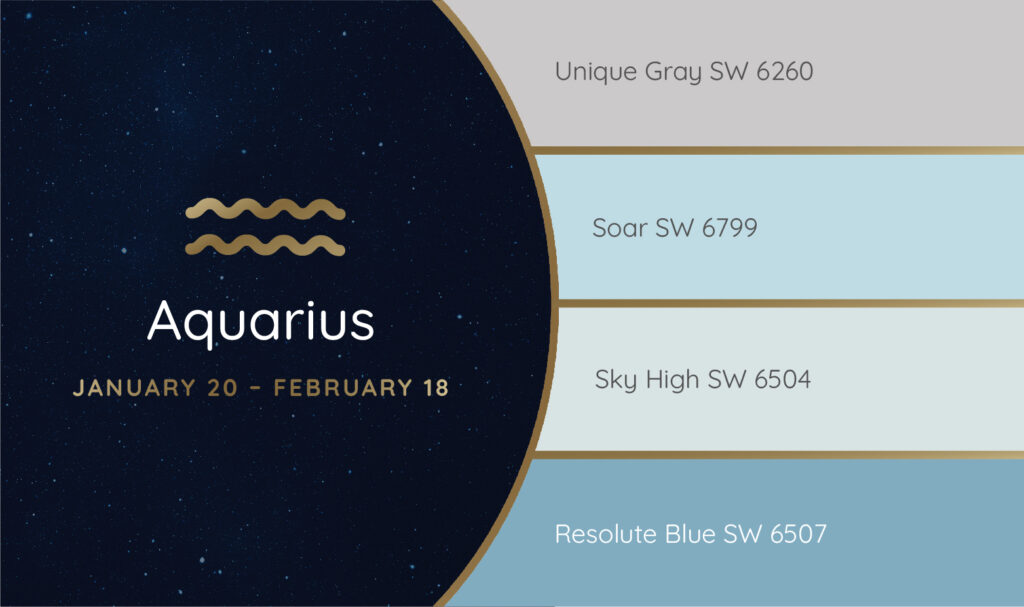 Aquarius paint palette featuring the Sherwin-Williams colors Unique Gray SW 6260, Soar SW 6799, Sky High SW 6504 and Resolute Blue SW 6507.