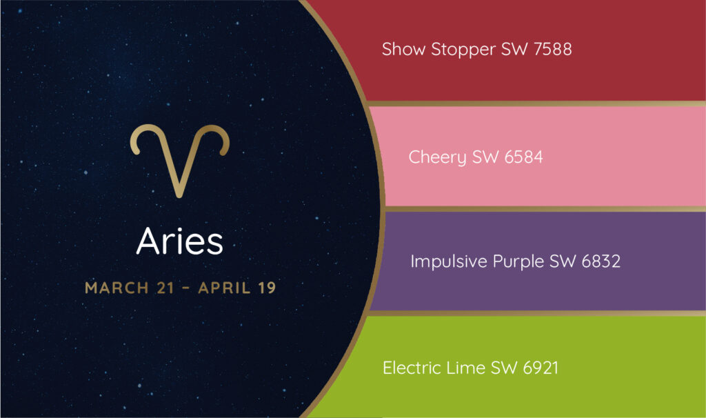 Aries paint palette featuring the Sherwin-Williams colors Show Stopper SW 7588, Cheery SW 6584, Impulsive Purple SW 6832 and Electric Lime SW 6921.