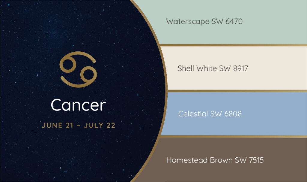 Cancer paint palette featuring the Sherwin-Williams colors Waterscape SW 6470, Shell White SW 8917, Celestial SW 6808 and Homestead Brown SW 7515.