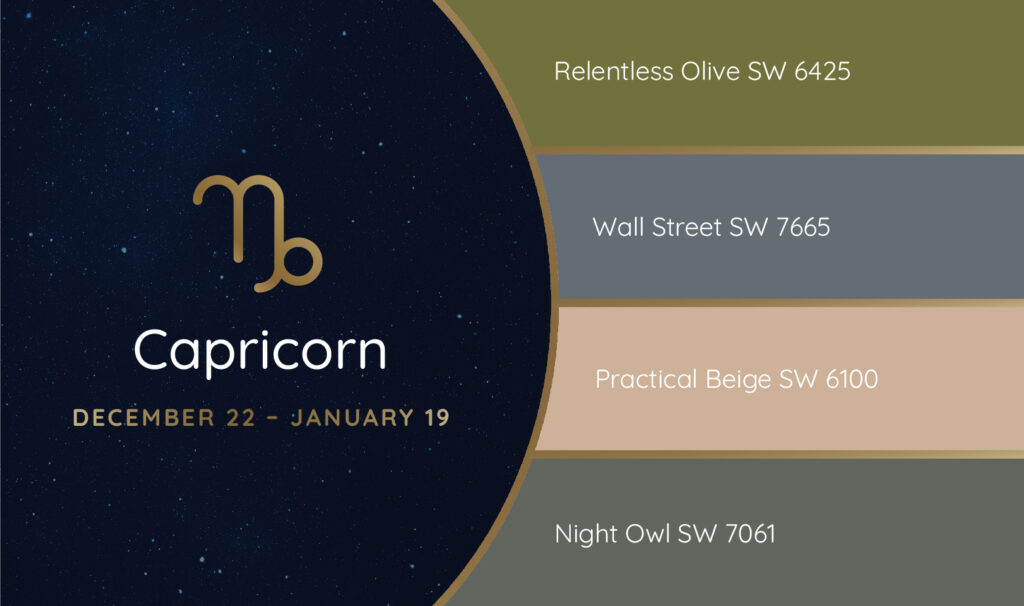 Capricorn paint palette featuring the Sherwin-Williams colors Relentless Olive SW 6425, Wall Street SW 7665, Practical Beige SW 6100 and Night Owl SW 7061.