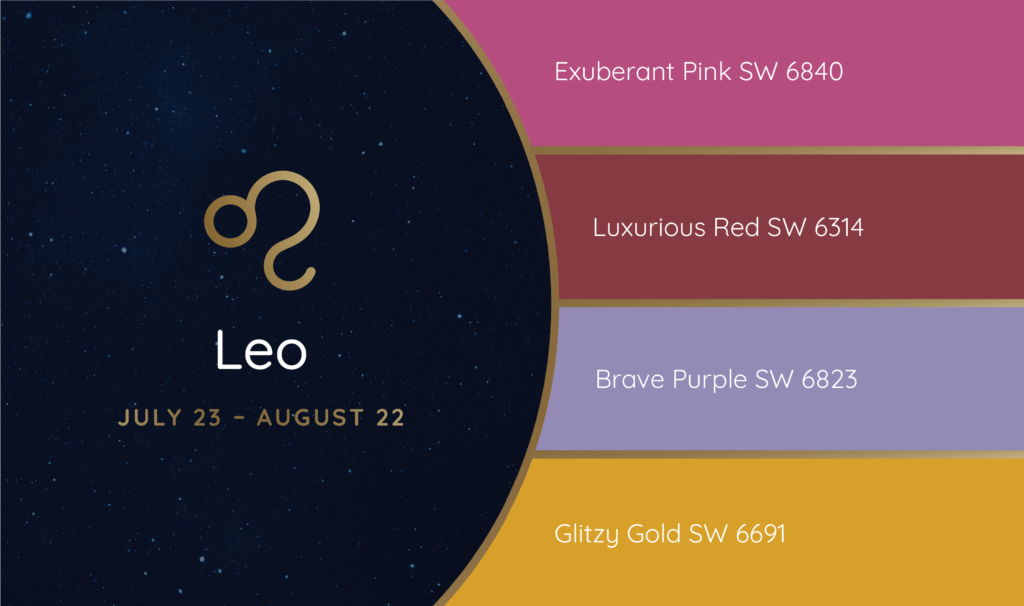 Leo paint palette featuring the Sherwin-Williams colors Exuberant Pink SW 6840, Luxurious Red SW 6314, Brave Purple SW 6823 and Glitzy Gold SW 6691.
