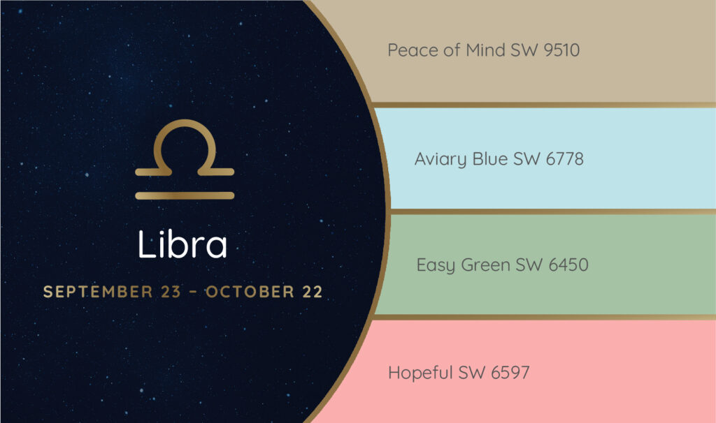 Libra paint palette featuring the Sherwin-Williams colors Peace of Mind SW 9510, Aviary Blue SW 6778, Easy Green SW 6450 and Hopeful SW 6597.