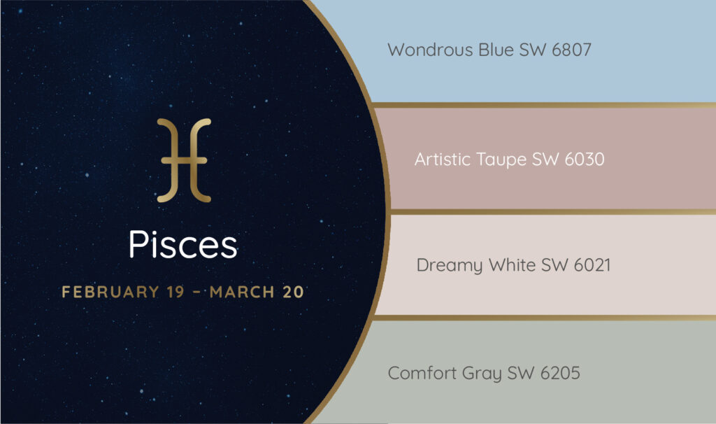 Pisces paint palette featuring the Sherwin-Williams colors Wondrous Blue SW 6807, Artistic Taupe SW 6030, Dreamy White SW 6021 and Comfort Gray SW 6205.