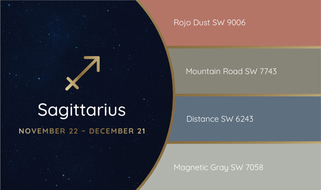 Sagittarius paint palette featuring the Sherwin-Williams colors Rojo Dust SW 9006, Mountain Road SW 7743, Distance SW 6243 and Magnetic Gray SW 7058.
