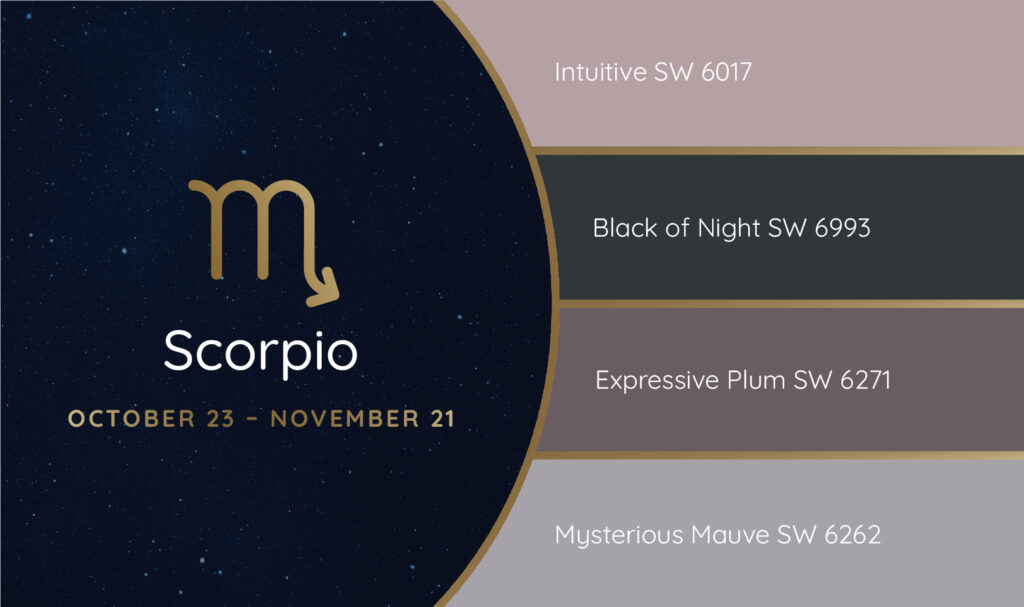 Scorpio paint palette featuring the Sherwin-Williams colors Intuitive SW 6017, Black of Night SW 6993, Expressive Plum SW 6271 and Mysterious Mauve SW 6262.