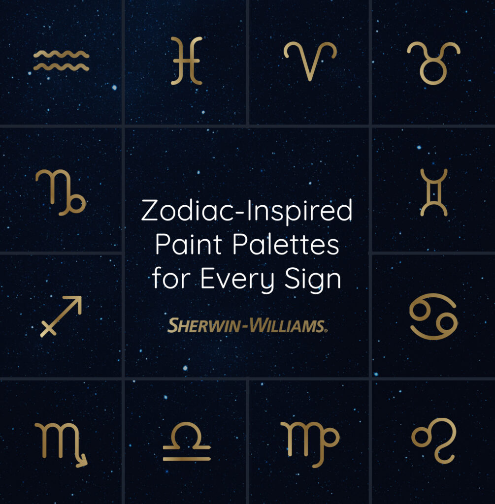 All twelve zodiac symbols on a night sky with a Sherwin-Williams logo and the headline, Zodiac-Inspired Paint Palettes for Every Sign.