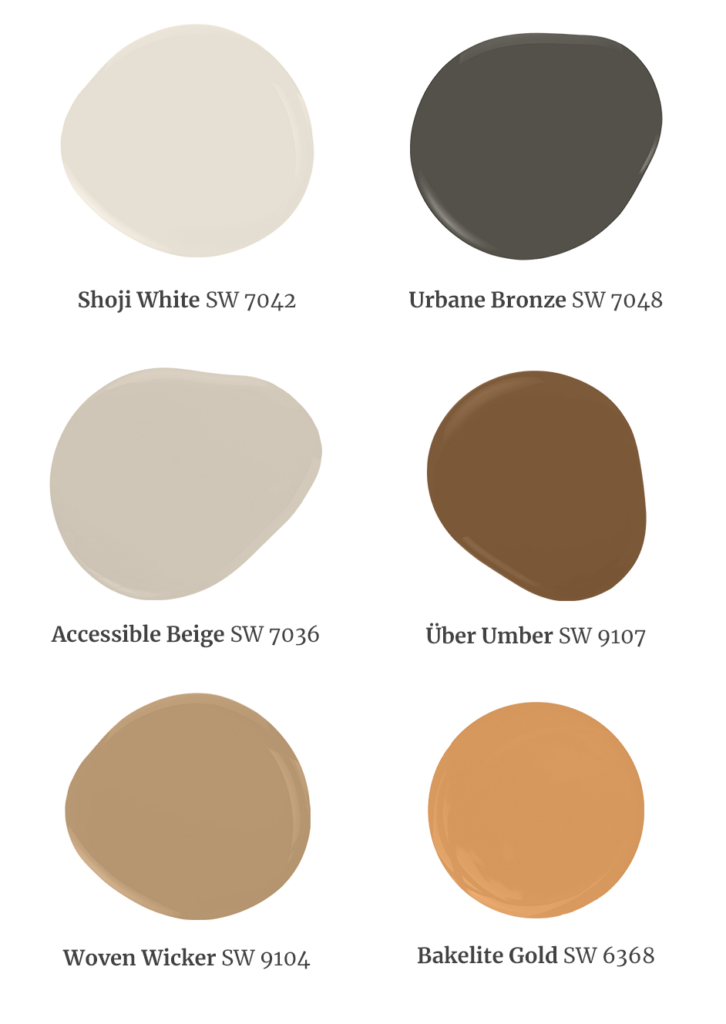 Paint dollops featuring the 2022 Color of the Year Accent Colors. From left to right, Shoji White SW 7042, Urbane Bronze SW 7048, Accessible Beige SW 7036, Uber Umber SW 9107, Woven Wicker SW 9104, Bakelite Gold SW 6368.